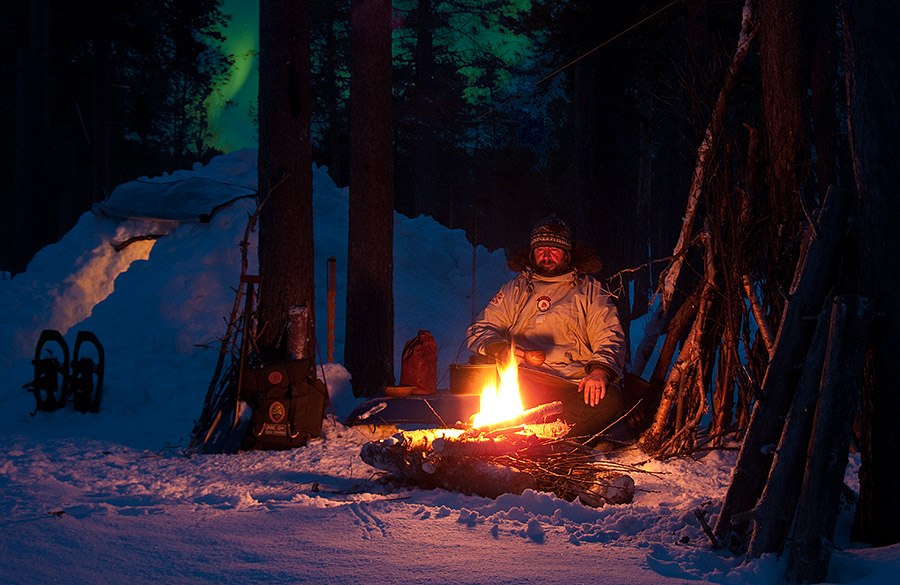 Cold Camping under the Northern Lights - Ice Raven - Sub Zero Adventure - Copyright Gary Waidson, All rights reserved.